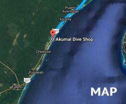 map | Akumal Dive Shop, Riviera Maya
